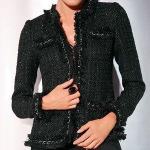 Boston Proper Parisian Tweed Chain Shimmer Blazer